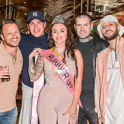 The Cannon Run bikini girls Judge Dapper Laughs, Tamer Hassan, Shane Lynch, ManLikeHaks and the winners Kitty King (2nd) at the Driving holiday experience hosts yacht party at The Sunborn Yacht, Royal Victoria Dock on 31 May 2019, London, UK.