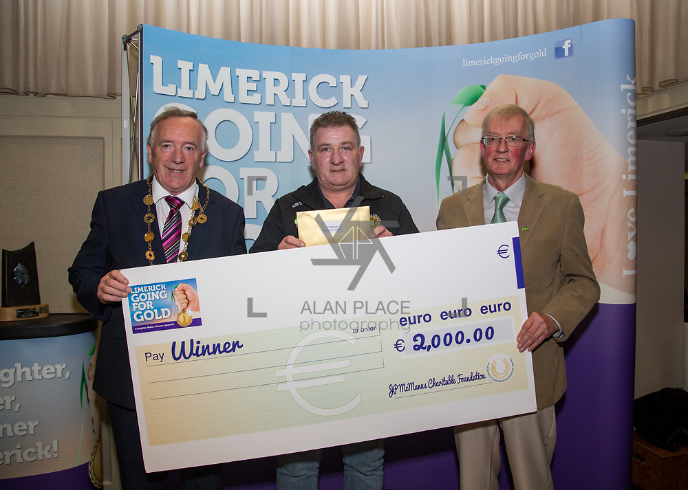 10.10. 2017. <br /> Mayor of the City and County of Limerick Cllr Stephen Keary and Noel Earlie, JP McManus Charitable Foundation presented  the Going for Gold 2017 Challenge Category 5th place to Croom accepted by Maurice Lynch.<br /> <br /> <br /> Limerick Going for Gold, which is sponsored by the JP McManus Charitable Foundation, has a total prize pool of over €75,000.  It is organised by Limerick City and County Council and supported by Limerick's Live 95FM, The Limerick Leader and The Limerick Chronicle, The Limerick Post, Parkway Shopping Centre, I Love Limerick and Southern Marketing Media & Design. Picture: Alan Place