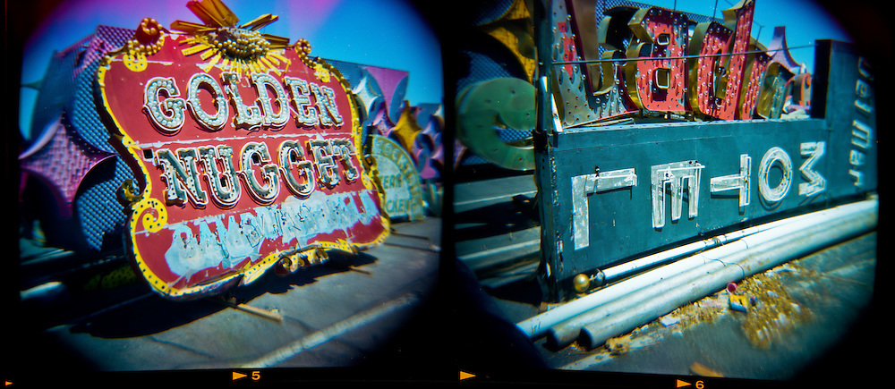 "Old and forgotten neon signs at the Neon Museum ""Boneyard."""