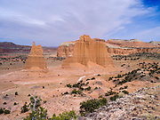 View of the Cathedral Valley area of Capitol Reef National Park, Utah.