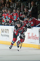 KELOWNA, CANADA - DECEMBER 6: Tyson Baillie #24 of Kelowna Rockets skates with the puck against the Prince Albert Raiders] on December 6, 2014 at Prospera Place in Kelowna, British Columbia, Canada.  (Photo by Marissa Baecker/Shoot the Breeze)  *** Local Caption *** Tyson Baillie;