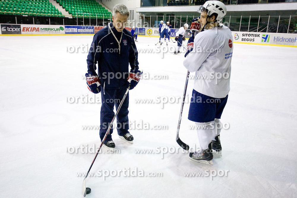 Head coach John Harrington and Jakob Milovanovic  at third practice of Slovenian National Ice hockey team before World championship of Division I - group B in Ljubljana, on April 6, 2010, in Hala Tivoli, Ljubljana, Slovenia.  (Photo by Vid Ponikvar / Sportida)