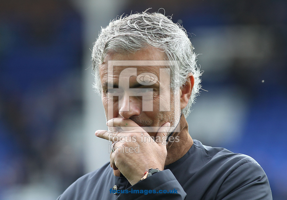 Jose Mourinho manager of Chelsea on the pitch watching his players warm up prior to the Barclays Premier League match against Everton at Goodison Park, Liverpool.<br /> Picture by Michael Sedgwick/Focus Images Ltd +44 7900 363072<br /> 12/09/2015