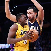 05 December 2016: Los Angeles Lakers forward Luol Deng (9) drives past Utah Jazz forward Trey Lyles (41) during the Utah Jazz 107-101 victory over the Los Angeles Lakers, at the Staples Center, Los Angeles, California, USA.