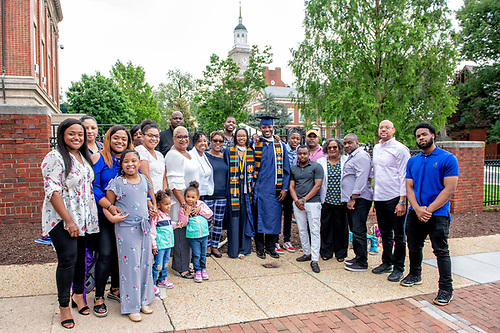 Graduating Howard students with their family.