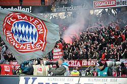 31.03.2012, Easy-Credit-Stadion, Nuernberg, GER, 1. FBL, 1. FC Nuernberg vs FC Bayern Muenchen, 28. Spieltag, im Bild Jubel und Feuerwerkskoerper/ Pyrotechnik bei den Fans des FC Bayern Muenchen nach dem Tor zum 0:1 durch Arjen Robben (Bayern Muenchen/ nicht im Bild). // during the German Bundesliga Match, 28th Round between 1. FC Nuernberg and FC Bayern Munich at the Easy-Credit-Stadium, Nuernberg, Germany on 2012/03/31. EXPA Pictures © 2012, PhotoCredit: EXPA/ Eibner/ Matthias Merz..***** ATTENTION - OUT OF GER *****