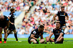 Henry Slade of Exeter Chiefs and Luke Cowan-Dickie of Exeter Chiefs looks dejected after the final whistle of the match - Mandatory by-line: Ryan Hiscott/JMP - 01/06/2019 - RUGBY - Twickenham Stadium - London, England - Exeter Chiefs v Saracens - Gallagher Premiership Rugby Final