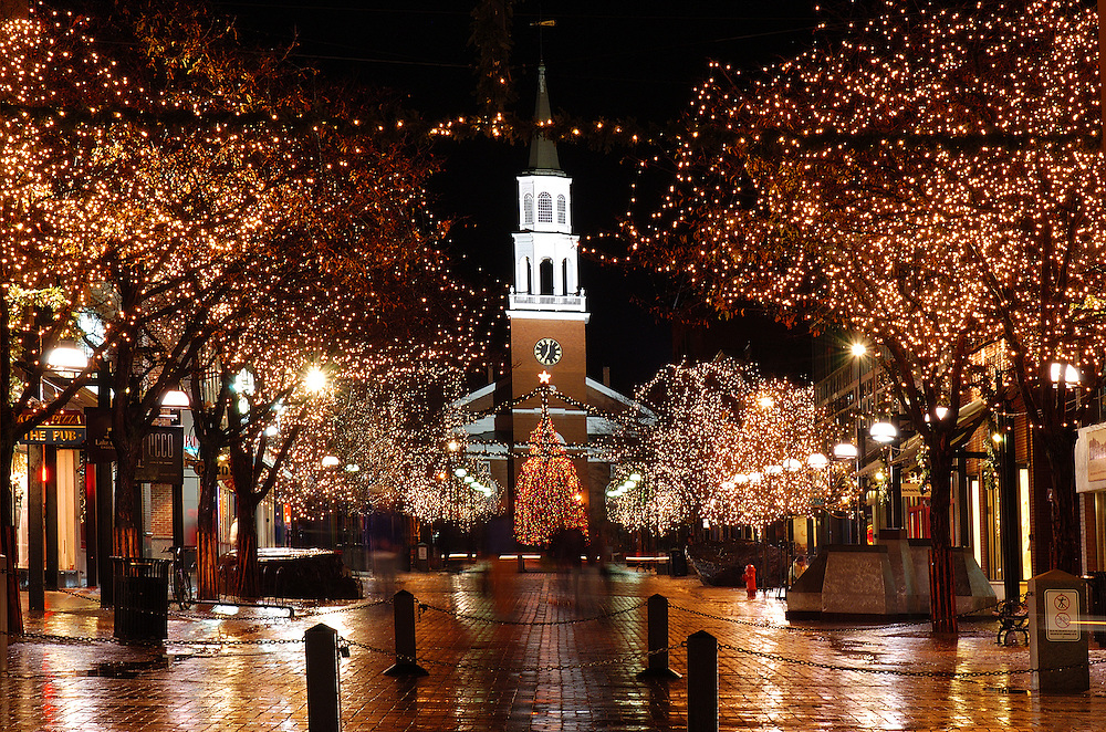Christmas lights shine on Church Street this holiday season on a rainy Sunday evening.