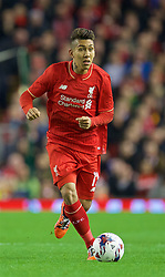 LIVERPOOL, ENGLAND - Wednesday, October 28, 2015: Liverpool's Roberto Firmino in action against AFC Bournemouth during the Football League Cup 4th Round match at Anfield. (Pic by David Rawcliffe/Propaganda)