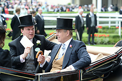 Left to right, LORD DALMENY and the DUKE OF YORK at Day 1 of the 2013 Royal Ascot Racing Festival at Ascot Racecourse, Ascot, Berkshire on 18th June 2013.