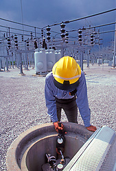Power Plant Sub station Worker Using Utility Meter