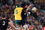 SYDNEY, NSW - AUGUST 18: Australian player Adam Coleman (5) and New Zealand player Samuel Whitelock (5) go up for the ball at the Bledisloe Cup rugby test match between Australia and New Zealand at ANZ Stadium in Sydney on August 18, 2018. (Photo by Speed Media/Icon Sportswire)