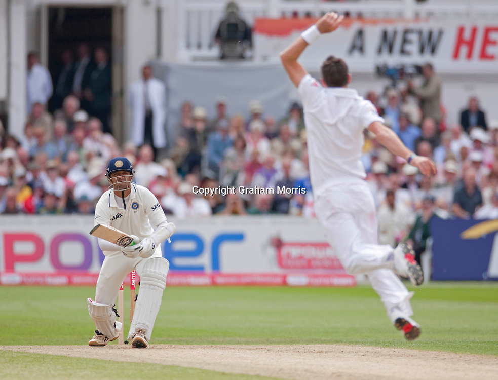 Bowler James Anderson fails to stop a Rahul Dravid four during the second npower Test Match between England and India at Trent Bridge, Nottingham.  Photo: Graham Morris (Tel: +44(0)20 8969 4192 Email: sales@cricketpix.com) 30/07/11