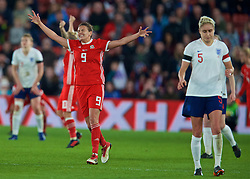 SOUTHAMPTON, ENGLAND - Friday, April 6, 2018: Wales' Kayleigh Green celebrates at the final whistle after a hard fought goal-less draw against England during the FIFA Women's World Cup 2019 Qualifying Round Group 1 match between England and Wales at St. Mary's Stadium. (Pic by David Rawcliffe/Propaganda)