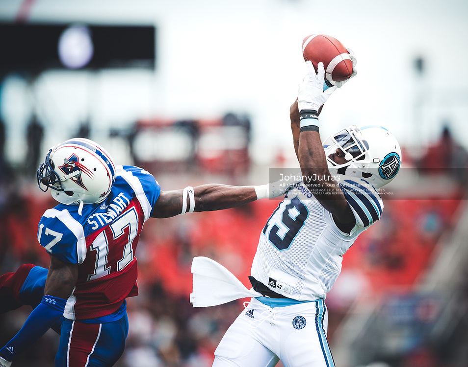 SJ Green (19) of the Toronto Argonauts and Brandon Stewart (17) of the Montreal Alouettes during the game at BMO Field in Toronto, ON, Saturday, August 19, 2017. (Photo: Johany Jutras)