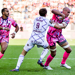 Kylan Hamdaoui of Paris and Sergio Parisse of Paris during Top 14 match between Stade Francais and Union Bordeaux Begles on September 1, 2018 in Paris, France. (Photo by Aude Alcover/Icon Sport)