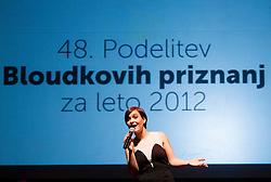 Nina Strnad singing at 48th Annual Awards of Stanko Bloudek for sports achievements in Slovenia in year 2012 on February 12, 2013 in Grand Hotel Union, Ljubljana, Slovenia. (Photo By Vid Ponikvar / Sportida)