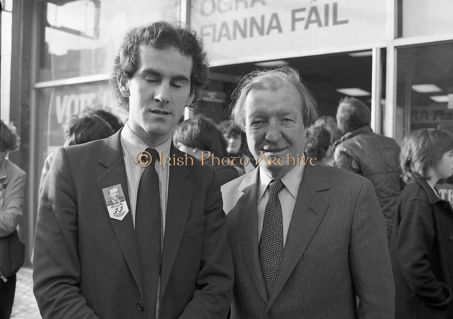 Opening of New Ogra Fianna Fail office on O'Connell St,Dublin.1982.30.01.1982.01.30.1982.30th January 1982..Image of Mr Aidan Eames,National Youth Organiser for Fianna Fail with Party Leader Mr Charles Haughey T.D.at the official opening of the office...