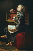 Young musician at the keyboard. Thought by some to be Wolfgang Amadeus Mozart (1756-1791).