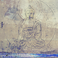Antique grunge buddha illustrations with abstract colors and textures.
