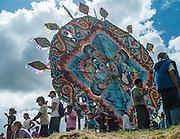 A giant kite on display in the hillside, Sumpango, Guatemala.