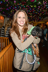 ALEXANDRA BOND ELLIOTT and her dog Ricky at a recption hosted by the Dogs Trust held at George, 87-88 Mount Street, London on 23rd November 2015.