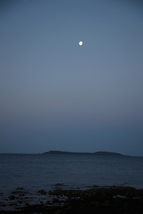 Moon over Saltee Islands Ireland