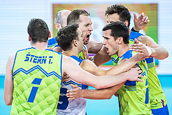 Slovenian players celebrating point during friendly volleyball match between Slovenia and Serbia in Arena Stozice on 2nd of September, 2019, Ljubljana, Slovenia. Photo by Grega Valancic / Sportida