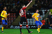 Morecambe Striker Paul Mullin celebrates during the Sky Bet League 2 match between Morecambe and Mansfield Town at the Globe Arena, Morecambe, England on 26 January 2016. Photo by Pete Burns.