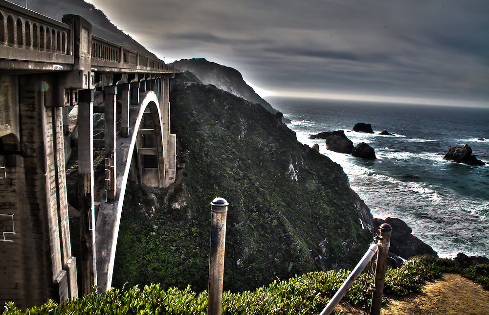 HDR image of the Rocky Creek Bridge near Big Sur California.