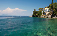 Anemogiannis House, a mansion on a cliff near Loggos, Paxos, The Ionian Islands, The Greek Islands, Greece, Europe
