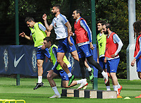 Football - 2018 / 2019 season - Chelsea Media Open Day pre-Europa League Final<br /> <br /> Chelsea players, Cesar Azpilicueta, Andreas Christensen, Olivier Giroud and Davide Zappacosta and Gonzalo Higuain (right) ,  at Chelsea FC Cobham Training Ground, Stoke d'Abernon.<br /> <br /> COLORSPORT/ANDREW COWIE