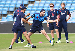 England's James Anderson catches the ball during a nets session at Headingley, Leeds.