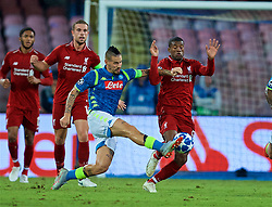 NAPLES, ITALY - Wednesday, October 3, 2018: Liverpool's Georginio Wijnaldum (R) and Napoli's Arkadiusz Milik during the UEFA Champions League Group C match between S.S.C. Napoli and Liverpool FC at Stadio San Paolo. (Pic by David Rawcliffe/Propaganda)