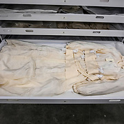 BOWIE, MD - MAY3: A wedding dress that was made just after World War II ended, from a parachute acquired by a young man for his betrothed who wanted to be married in white, was worn at a wedding in a displaced persons camp near Bergen-Belsen in Germany, and is now stored at the U.S. Holocaust Memorial Museum's David and Fela Shapell Family Collections, Conservation and Research Center in Bowie, MD, May 3, 2017. The dress was worn by more than a dozen other brides in the displaced persons camp.<br /> <br /> The 80,000-square-foot Shapell Center is a state-of-the-art facility that will house the collection of record of the Holocaust, including historical artifacts, documents, photographs, film and other objects related to the Holocaust. (Photo by Evelyn Hockstein/For The Washington Post)