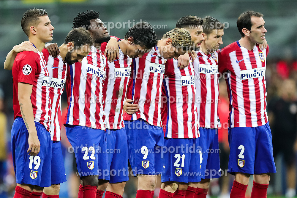 Players of Atlético during penalty shots at football match between Real Madrid (ESP) and Atlético de Madrid (ESP) in Final of UEFA Champions League 2016, on May 28, 2016 in San Siro Stadium, Milan, Italy. Photo by Vid Ponikvar / Sportida