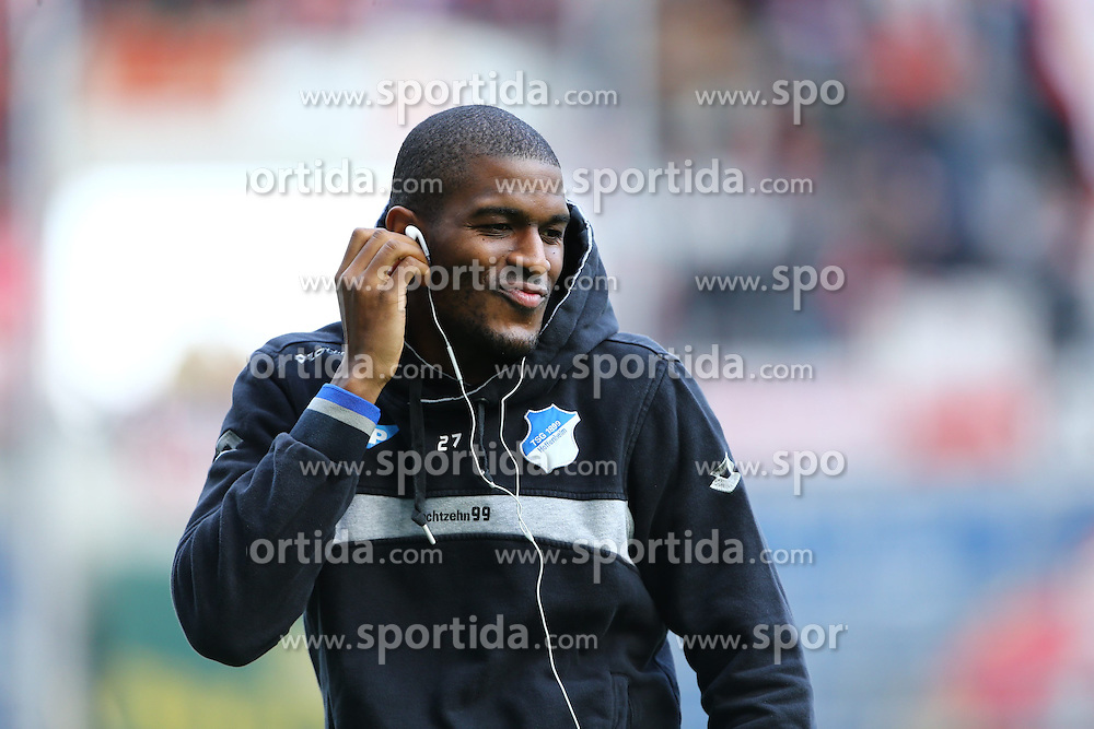 28.02.2015, Rhein Neckar Arena, Sinsheim, GER, 1. FBL, TSG 1899 Hoffenheim vs 1. FSV Mainz 05, 23. Runde, im Bild Anthony Modeste (TSG 1899 Hoffenheim) gut gelaunt vor dem Spiel und swingt zur Musik, Emotionen, Freisteller // during the German Bundesliga 23rd round match between TSG 1899 Hoffenheim and 1. FSV Mainz 05 at the Rhein Neckar Arena in Sinsheim, Germany on 2015/02/28. EXPA Pictures &copy; 2015, PhotoCredit: EXPA/ Eibner-Pressefoto/ Neis<br /> <br /> *****ATTENTION - OUT of GER*****