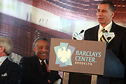 l to r: Rev. Al Sharpton and Governor David Patterson at the Ground Breaking Ceremony at The Atlantic Yards for the Barclay Center, which will be the future home for the Brooklyn Nets on March 11, 2010 in Brooklyn New York. Photo Credit: Terrence Jennings