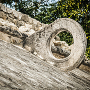 A stone hoop on the walls of one of the two ball game courts at Coba, an expansive Mayan site on Mexico's Yucatan Peninsula not far from the more famous Tulum ruins. Nestled between two lakes, Coba is estimated to have been home to at least 50,000 residents at its pre-Colombian peak.