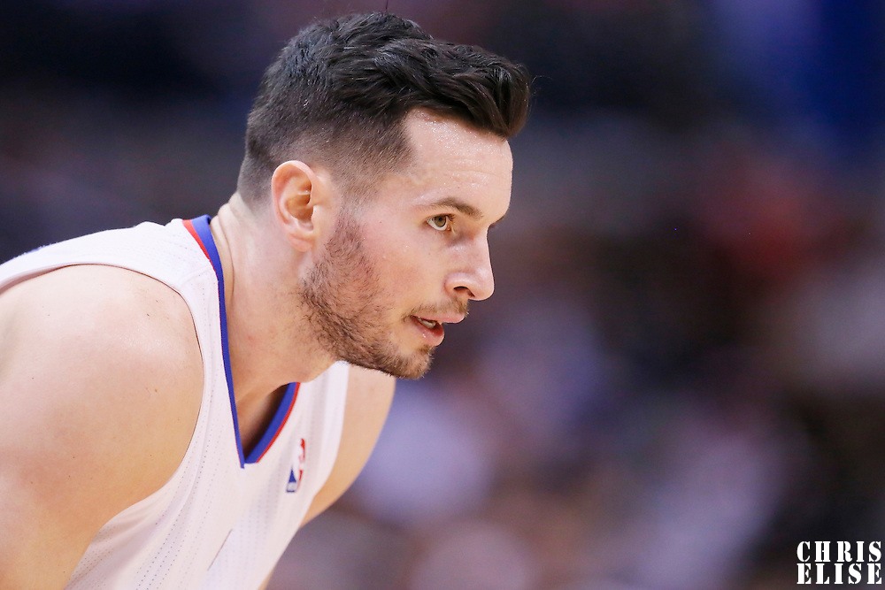 01 February 2014: Los Angeles Clippers shooting guard J.J. Redick (4) rests during the Los Angeles Clippers 102-87 victory over the Utah Jazz at the Staples Center, Los Angeles, California, USA.