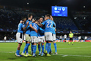 Dries Mertens of Napoli celebrates with his teammates after scoring 4-0 goal by penalty during the UEFA Champions League, Group E football match between SSC Napoli and KRC Genk on December 10, 2019 at Stadio San Paolo in Naples, Italy - Photo Federico Proietti / ProSportsImages / DPPI