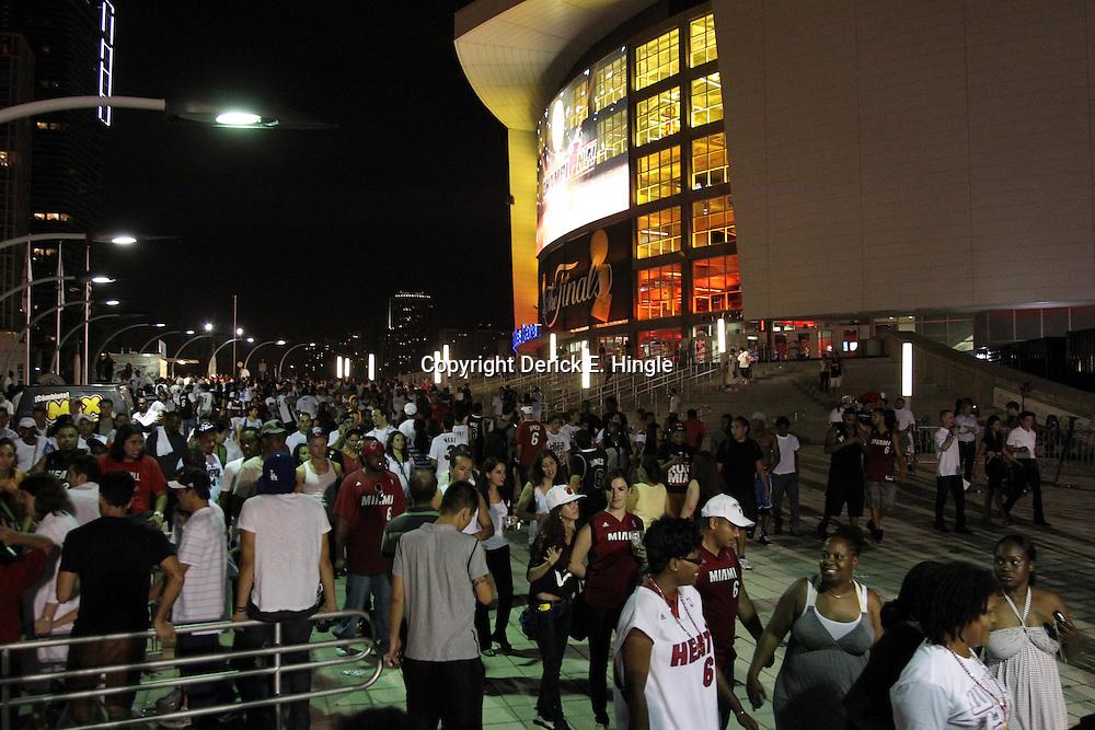 Jun 21, 2012; Miami, FL, USA; General view of the American Airlines Arena after the Miami Heat won the 2012 NBA championship. Miami won 121-106. Mandatory Credit: Derick E. Hingle-US PRESSWIRE