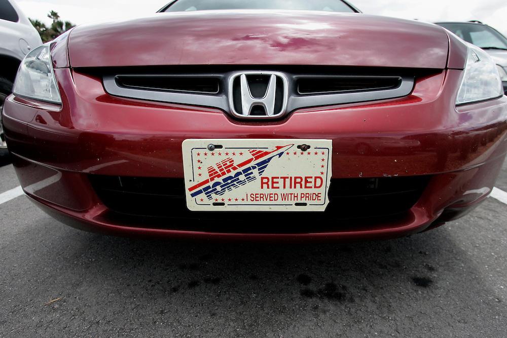 US-ORLANDO- Registration plate. PHOTO: GERRIT DE HEUS.VS - ORLANDO - Een kenteken op een auto laat de trots zien van een oud-militair. PHOTO COPYRIGHT GERRIT DE HEUS