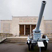 A French De Bange 155mm long cannon mle. 1877 at the entrance of Verdun Memorial. The memorial built in 1967 to commemorate the battle of Verdun fought in 1916. The memorial is situated near the the destroyed village of Fleury-devant-Douaumont and remembers both French and German combatants.