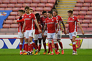 Barnsley FC celebrate goal scored by Barnsley FC defender Ezekiel Fryers (3) to go 2-0 during the EFL Sky Bet Championship match between Barnsley and Birmingham City at Oakwell, Barnsley, England on 4 November 2017. Photo by Ian Lyall.
