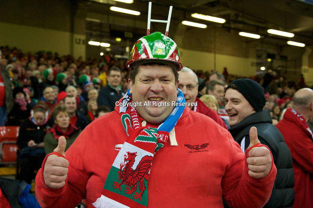 01.02.2014 Cardiff, Wales. A Wales fan before the Six Nations game between Wales and Italy from the Millennium Stadium.