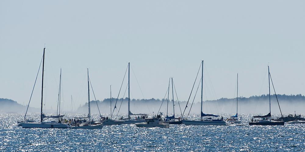Sailboat race on the midsummer day in the Kanholmsfj&auml;rden.<br /> Stockholm Archipelago, Sweden