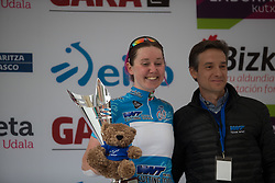 Katie Archibald (GBR) of Team WNT retains the blue jersey of the best sprinter after Stage 3 of the Emakumeen Bira - a 77.6 km road race, starting and finishing in Antzuola on May 19, 2017, in Basque Country, Spain. (Photo by Balint Hamvas/Velofocus)