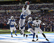 September 23, 2012:  Indianapolis Colts cornerback Jerraud Powers (25) intercepts a pass in the end zone that was overturned after officials reviewed the replay during an NFL game between the Jacksonville Jaguars and the Indianapolis Colts at Lucas Oil Stadium in Indianapolis, IN.The Jaguars defeated the Colts 22-17.
