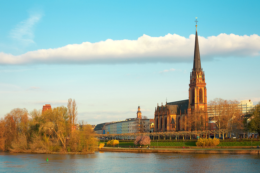 Dreikoenigs church and River Main, Frankfurt, Hesse, Germany